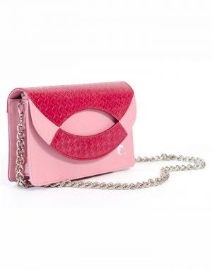 Bolso de mano o de colgar de piel de alta calidad de vacuno de color rosa con cadena metálica de níquel.